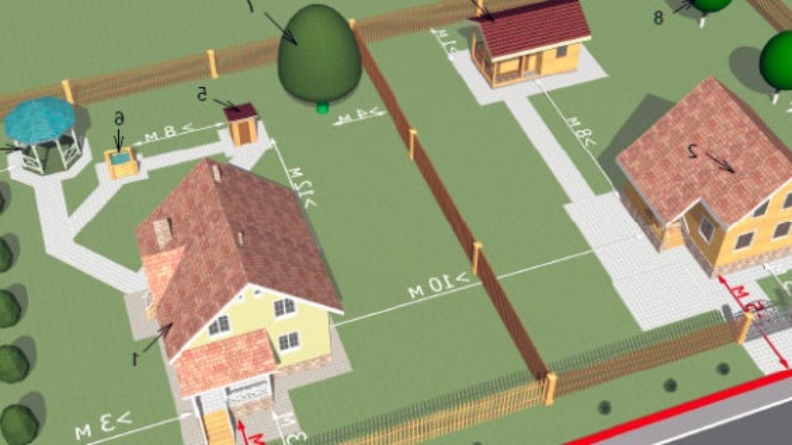 Схема отступов от границ земельного участка